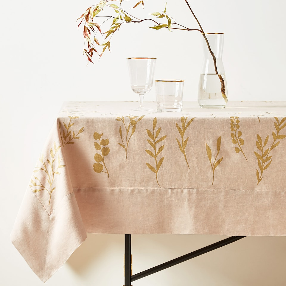 METALLIC BOUQUET PRINT LINEN TABLECLOTH