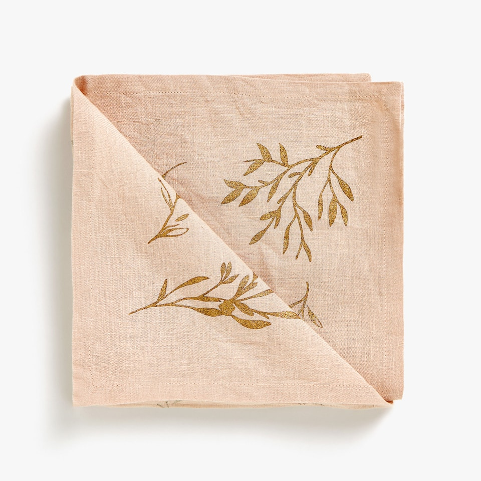 METALLIC BOUQUET PRINT LINEN NAPKINS (SET OF 4)