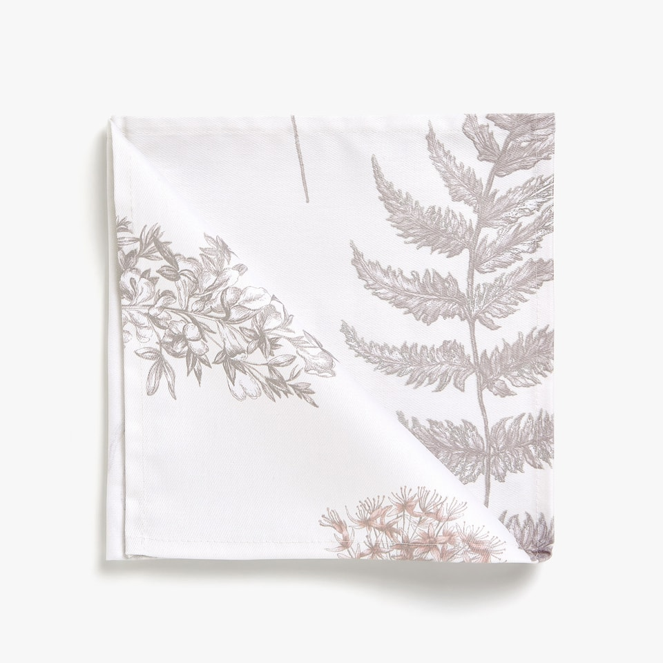 SERVIETTES DE TABLE COTON IMPRIMÉ BOTANIQUE (LOT DE 4)