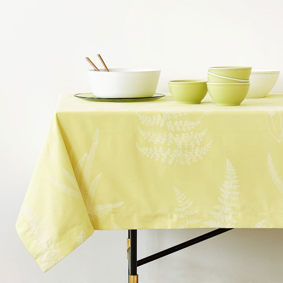 MONOCHROME PRINTED COTTON TABLECLOTH