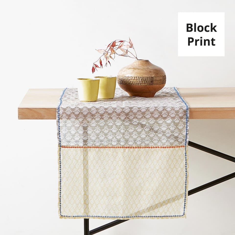 EMBROIDERED COTTON ORGANZA TABLE RUNNER