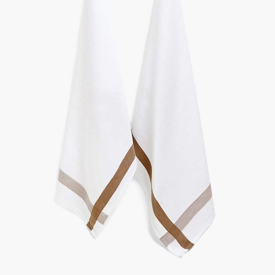COTTON TEA TOWEL WITH BROWN BORDER (SET OF 2)