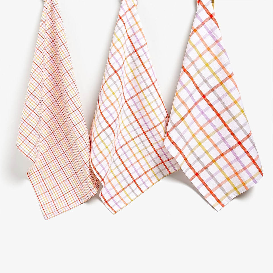 MULTICOLOURED STRIPES COTTON TEA TOWEL (SET OF 3)