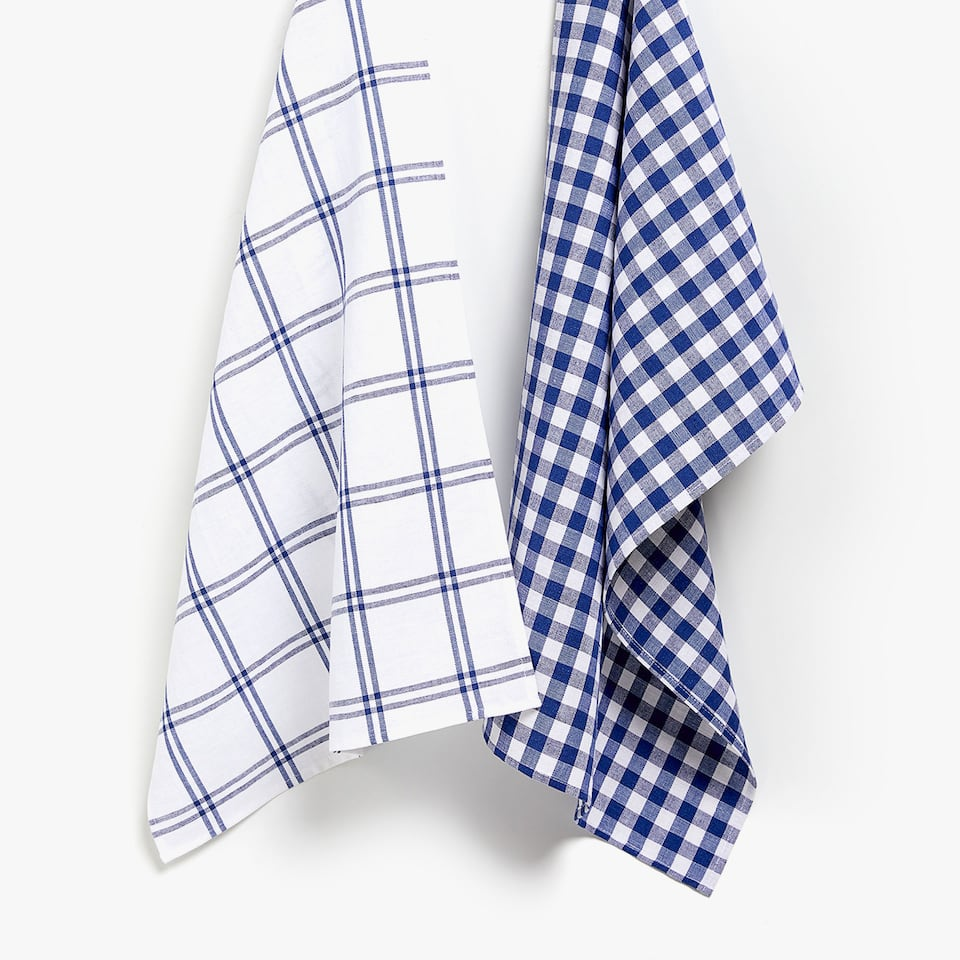 CHECKED AND STRIPED COTTON TEA TOWEL