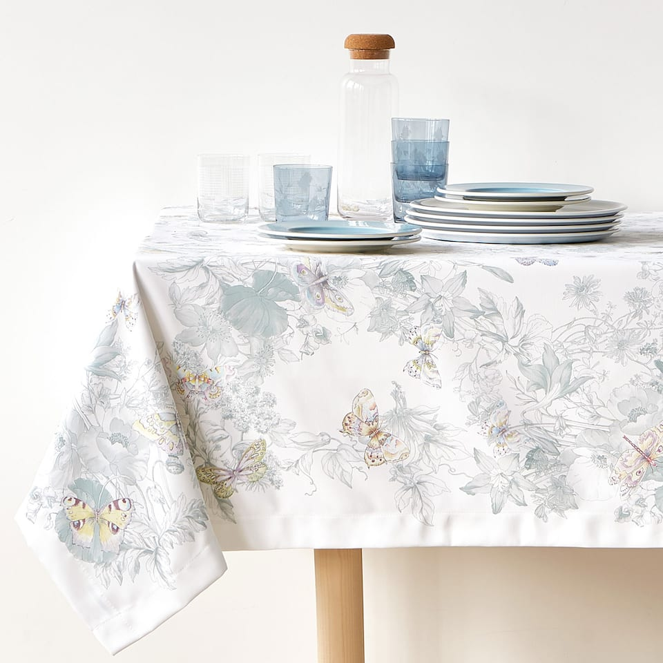 BUTTERFLY AND LEAF DIGITAL PRINT TABLECLOTH