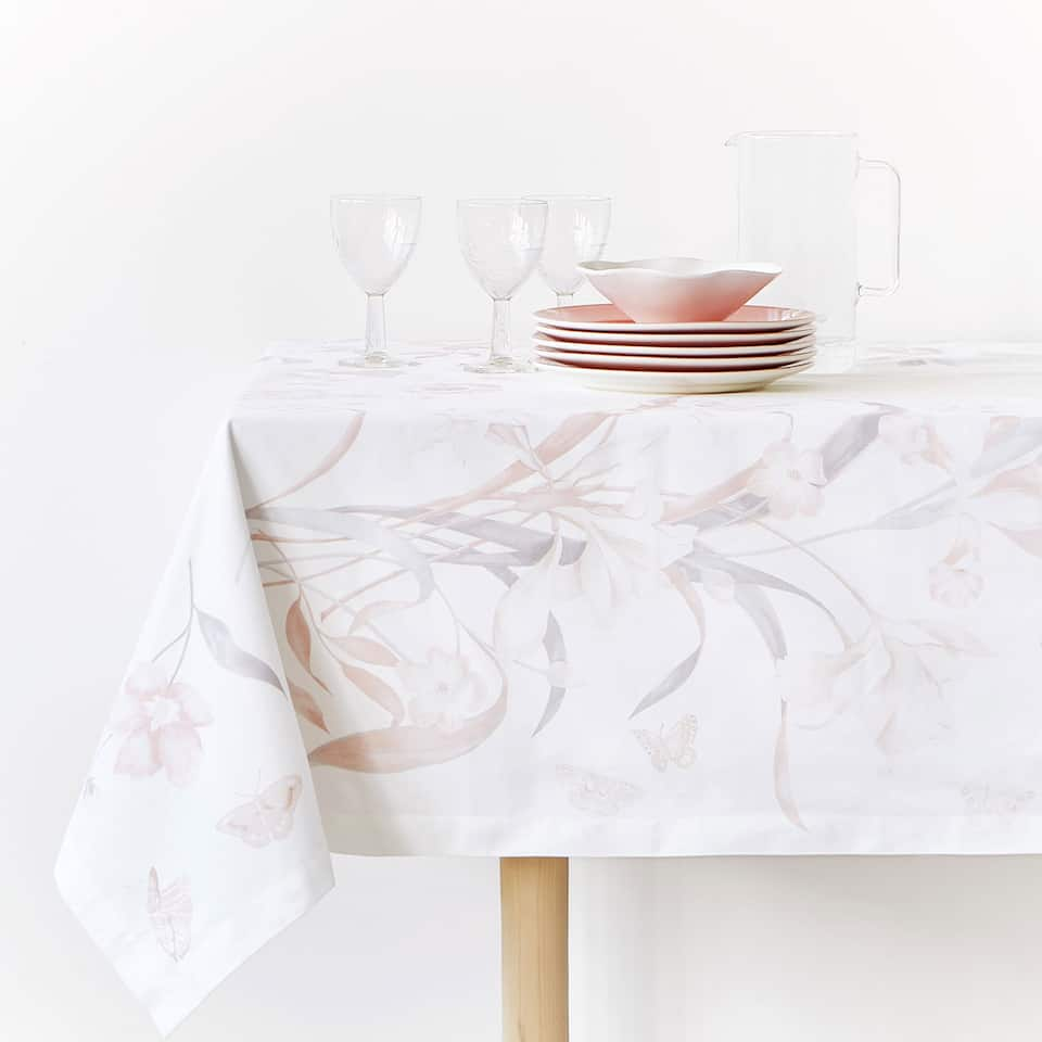 FLOWER AND LEAF DIGITAL PRINT COTTON TABLECLOTH