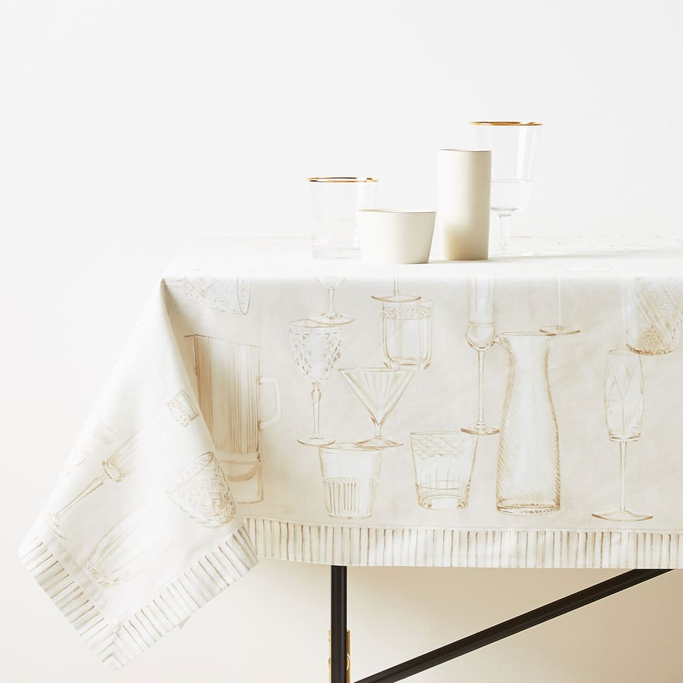 GLASSWARE DIGITAL PRINT COTTON TABLECLOTH