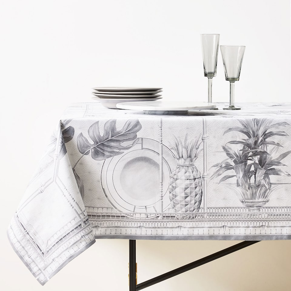 COCKTAIL PRINT COTTON TABLECLOTH