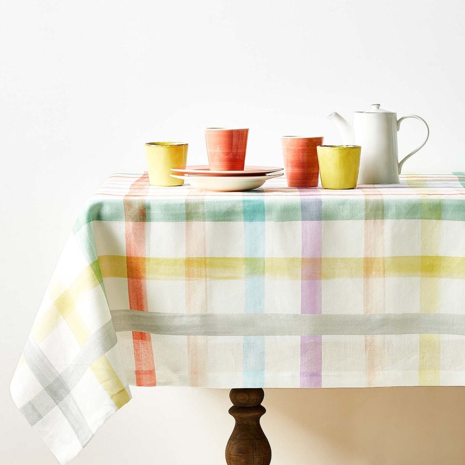 MULTICOLOURED STRIPED DIGITAL PRINT LINEN TABLECLOTH
