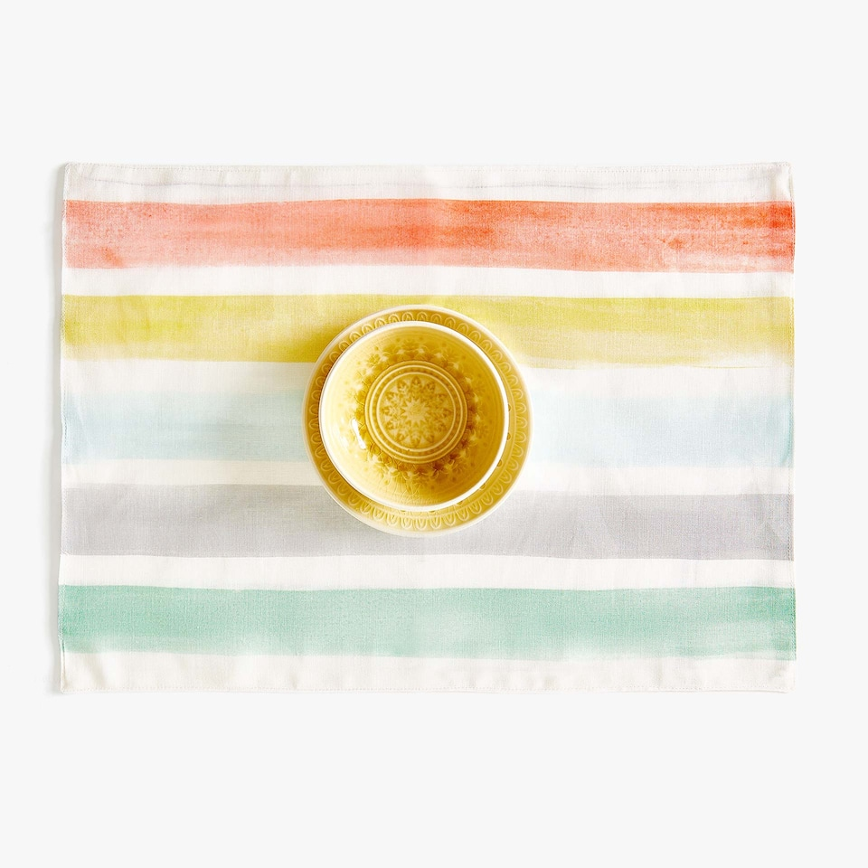 MULTICOLOURED STRIPED DIGITAL PRINT LINEN PLACEMAT