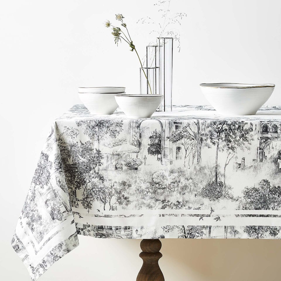 LANDSCAPE DIGITAL PRINT COTTON TABLECLOTH