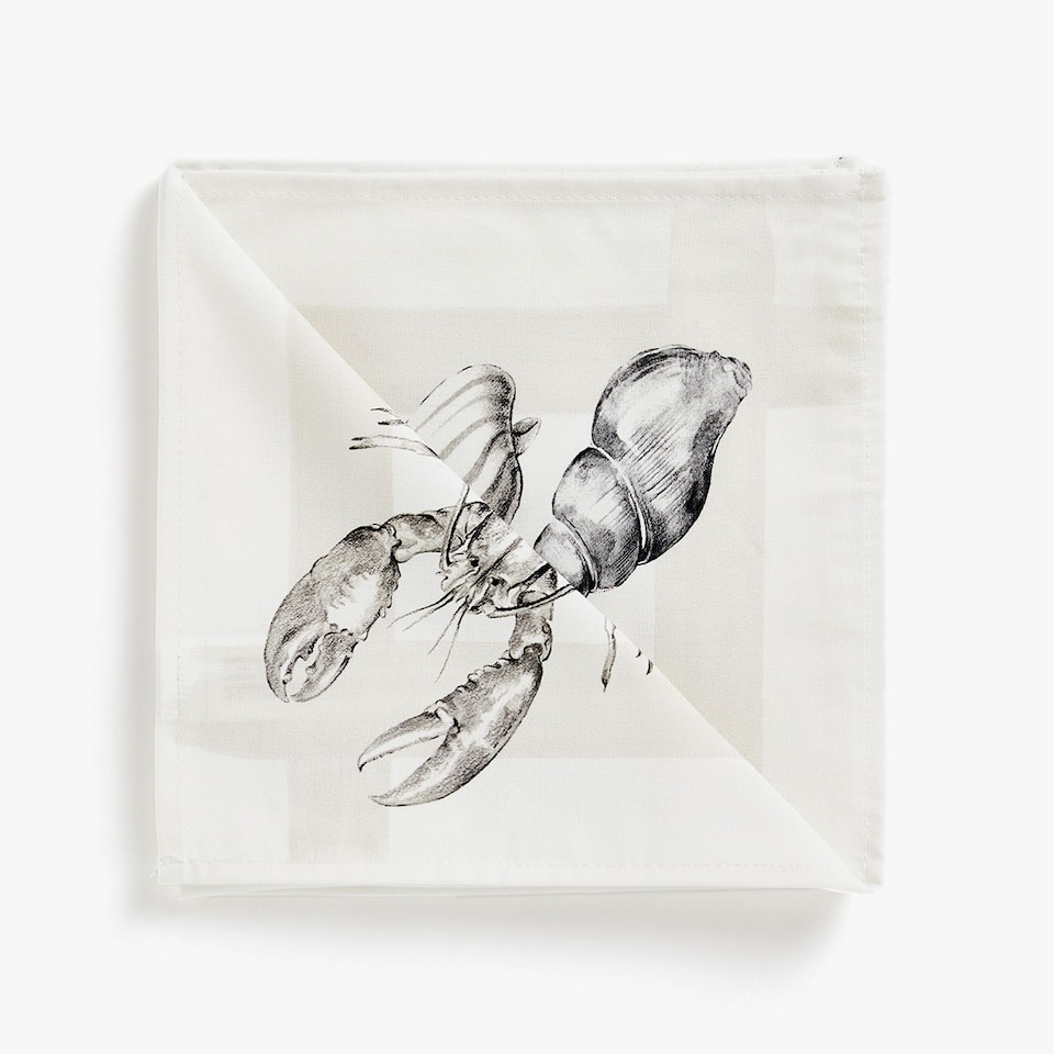 MARINE DIGITAL PRINT COTTON NAPKINS (SET OF 4)
