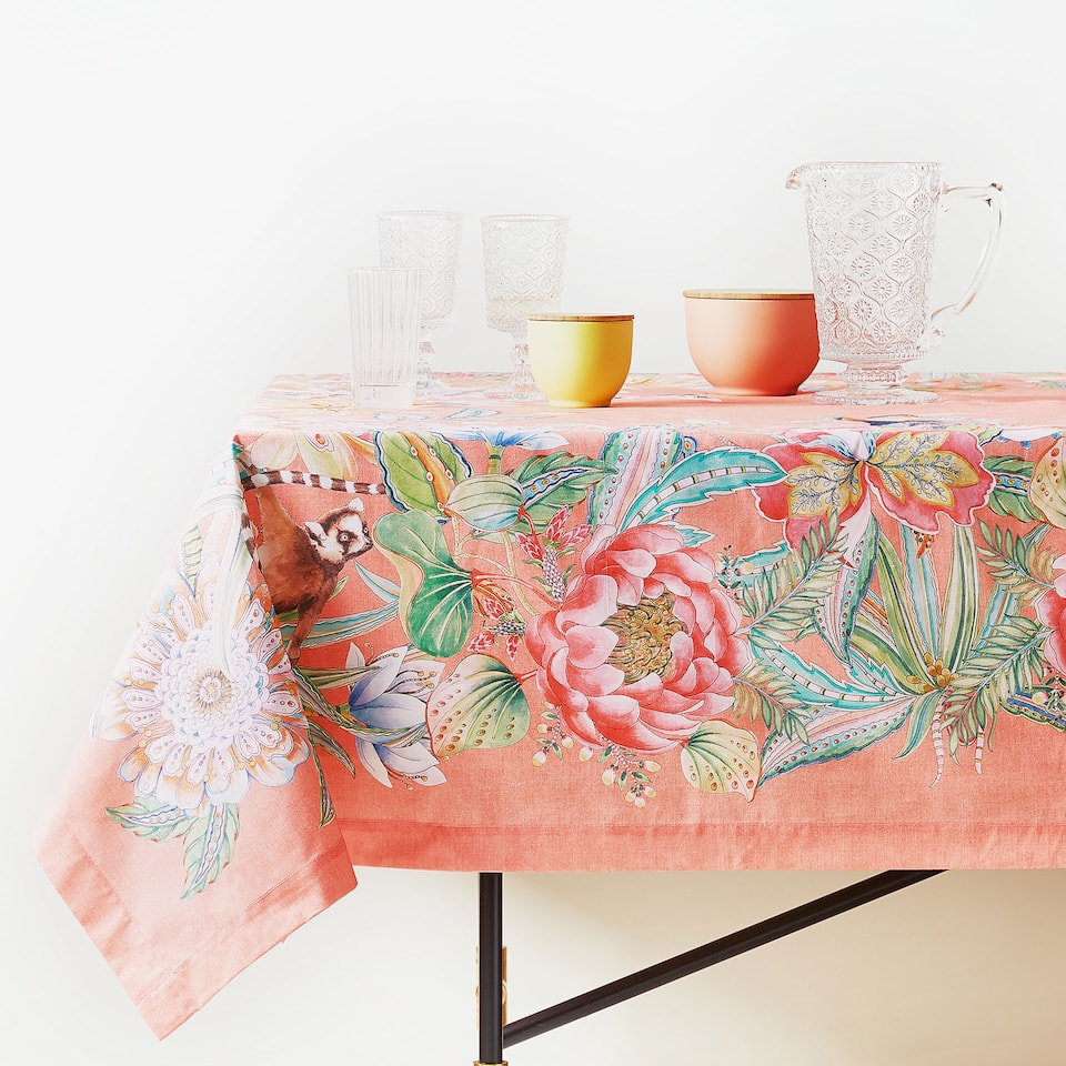 JUNGLE DIGITAL PRINT COTTON TABLECLOTH