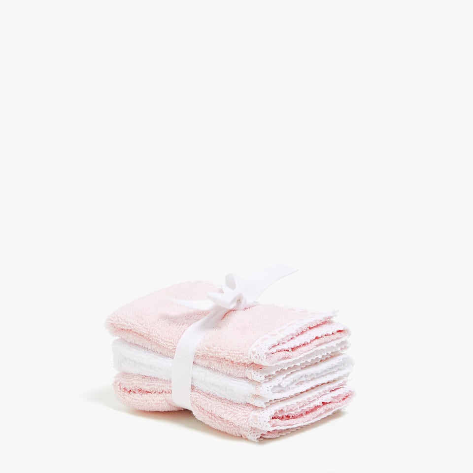 SERVIETTES DE BAIN APPLIQUE DENTELLE (LOT DE 3)