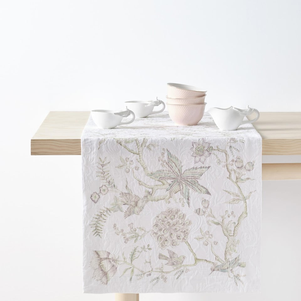 FOREST PRINT COTTON JACQUARD TABLE RUNNER