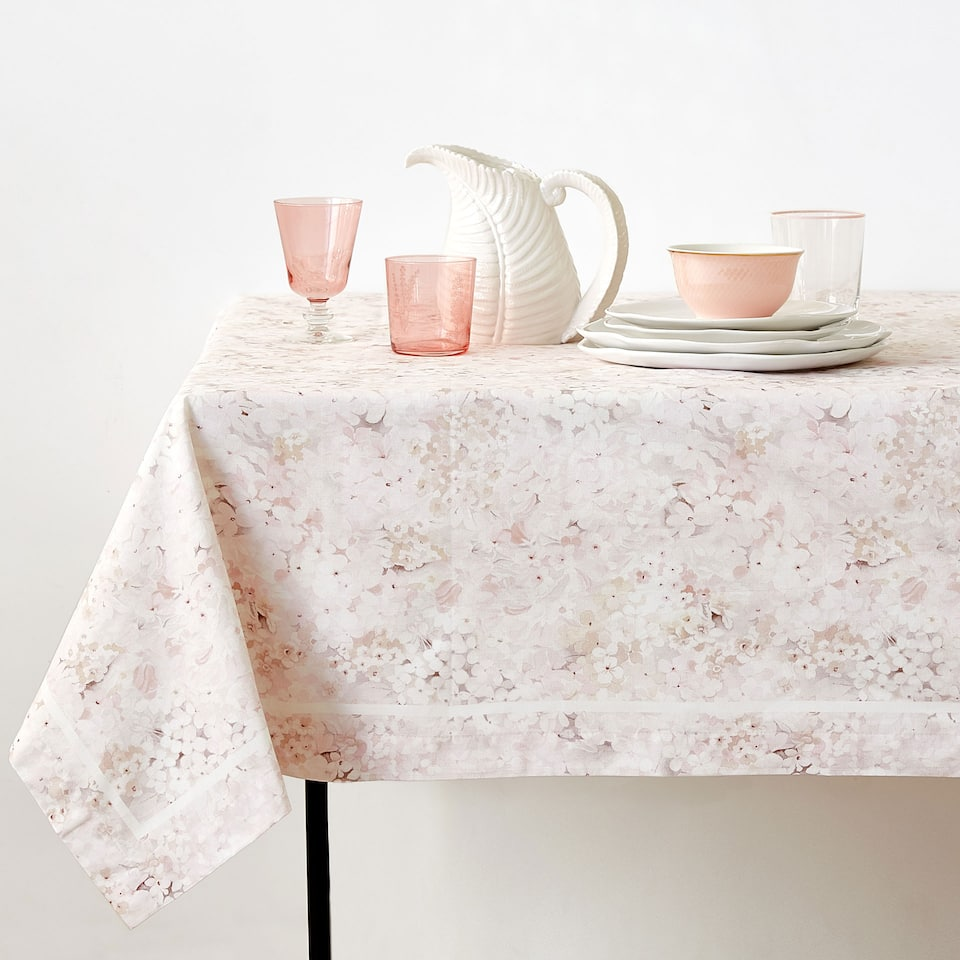 FLORAL DIGITAL PRINT COTTON TABLECLOTH