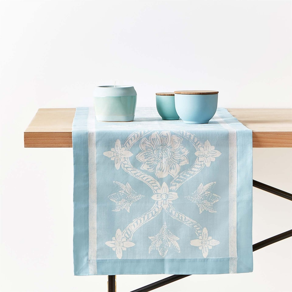 MONOCHROME PRINT COTTON TABLE RUNNER