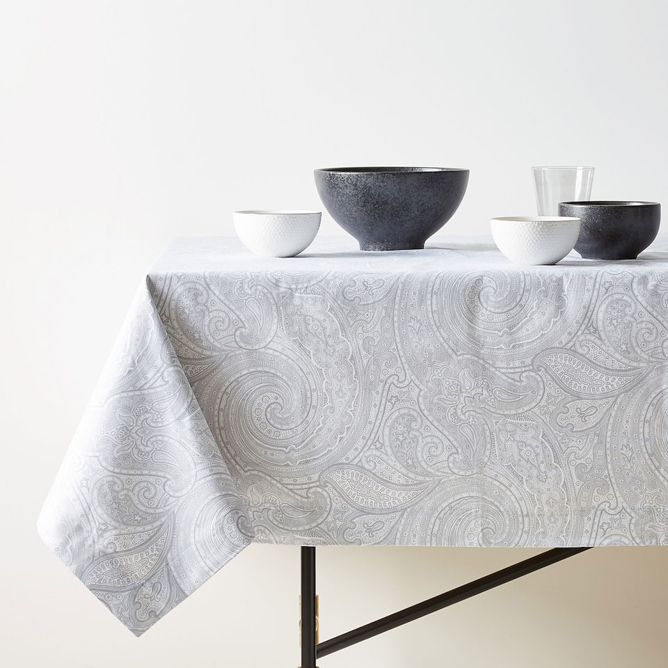 GREY PAISLEY PRINT COTTON TABLECLOTH