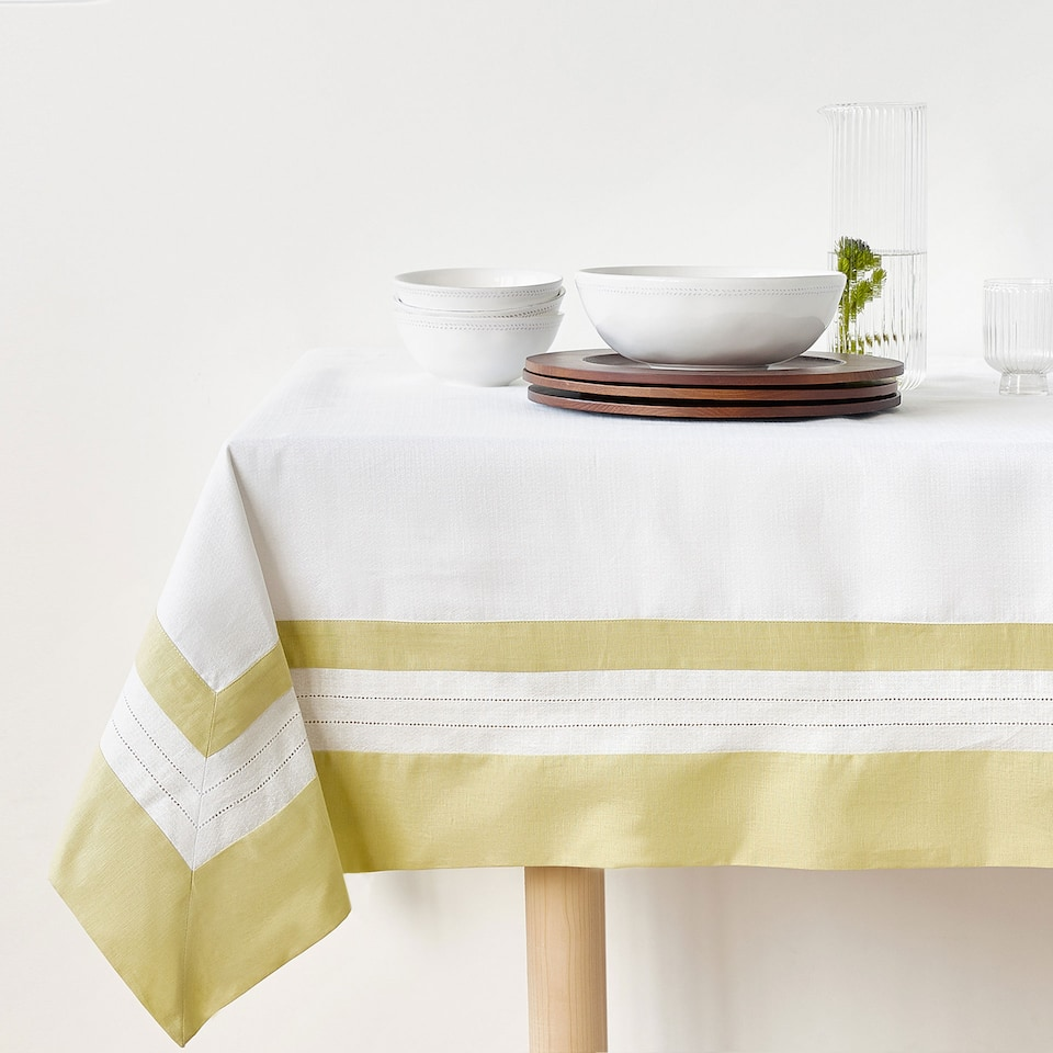 COTTON AND LINEN DOUBLE HEMSTITCHED TABLECLOTH