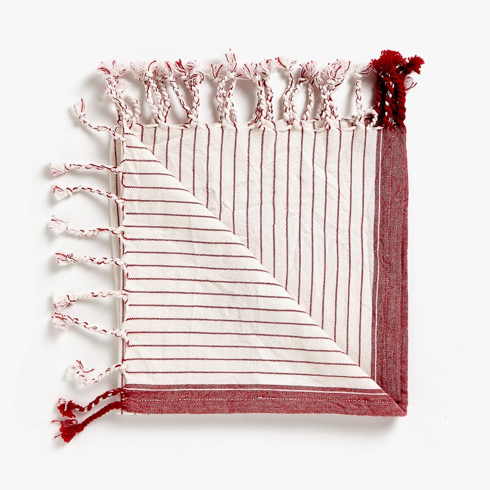 EMBROIDERED FRINGED COTTON NAPKINS (SET OF 4)