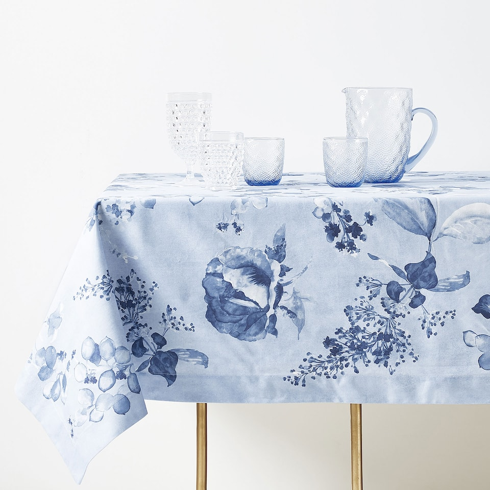 FLORAL WATERCOLOUR PRINT COTTON TABLECLOTH