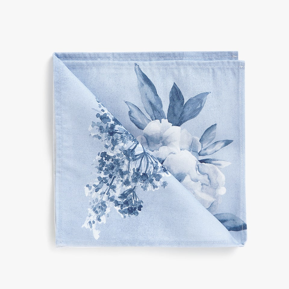 FLORAL WATERCOLOUR PRINT COTTON NAPKINS (SET OF 4)