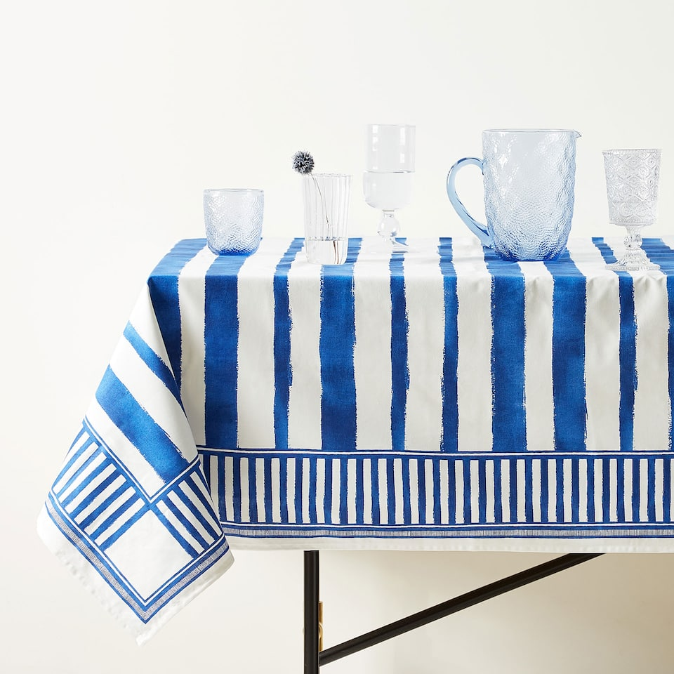COTTON TABLECLOTH WITH STRIPED PRINT