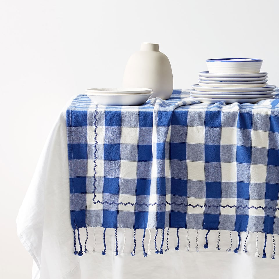 CHECKED COTTON TABLECLOTH WITH FRINGE