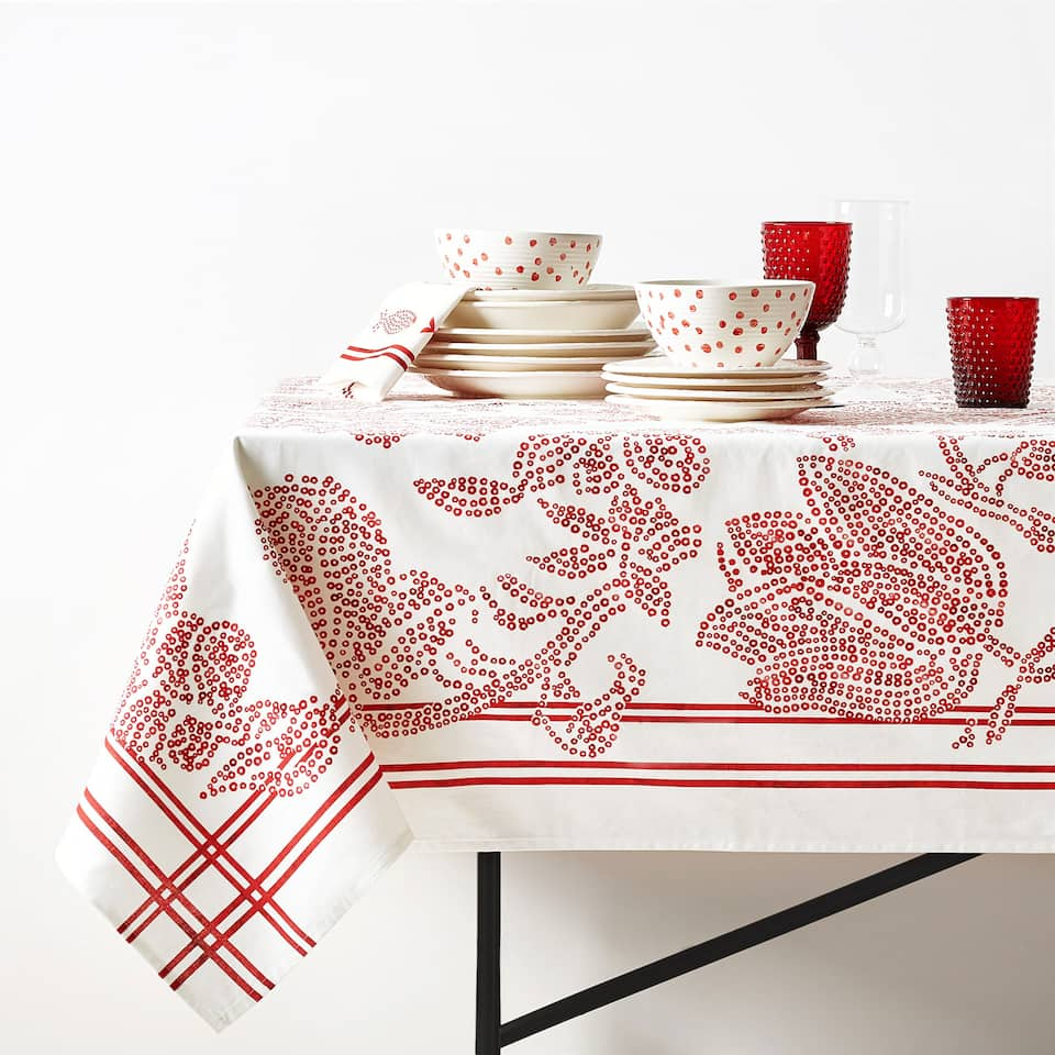 CONTRASTING PRINT COTTON TABLECLOTH