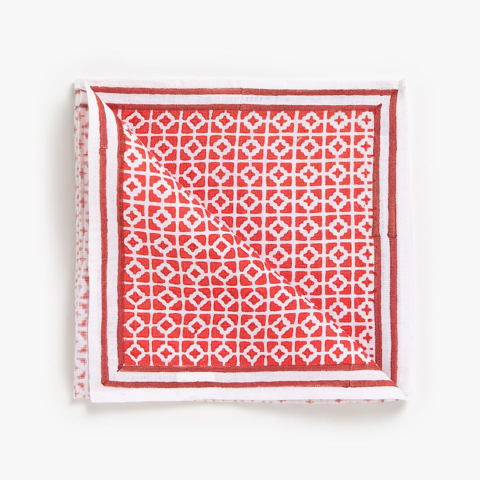 PATCHWORK-EFFECT PRINT LINEN NAPKINS (SET OF 4)