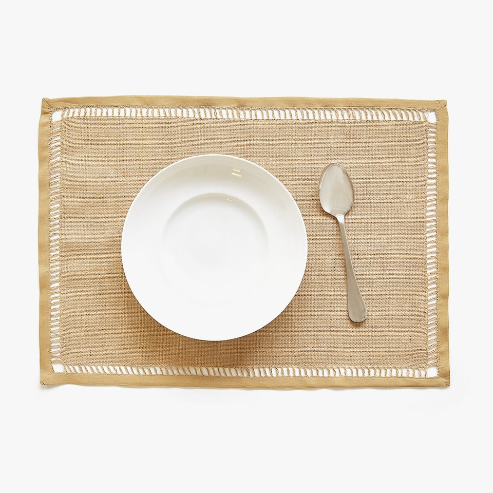 JUTE PLACEMAT MET OPEN ZOOM (SET VAN 2)