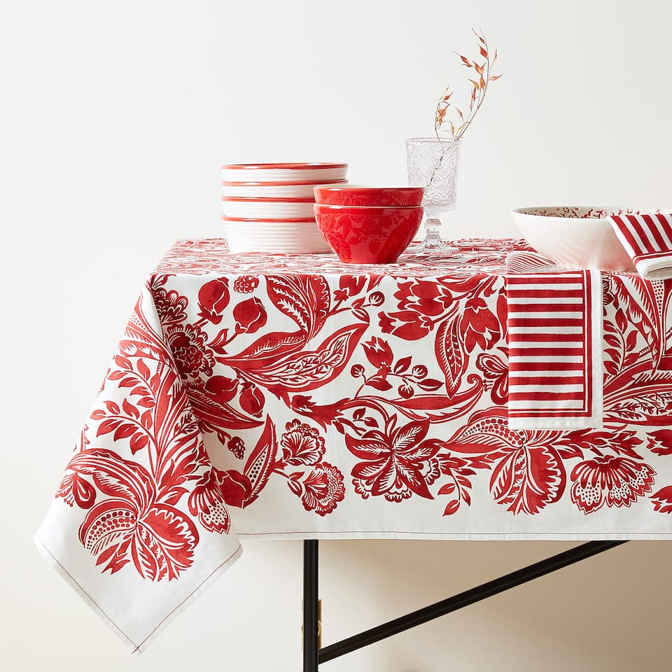 MONOCHROME FLORAL PRINT COTTON TABLECLOTH