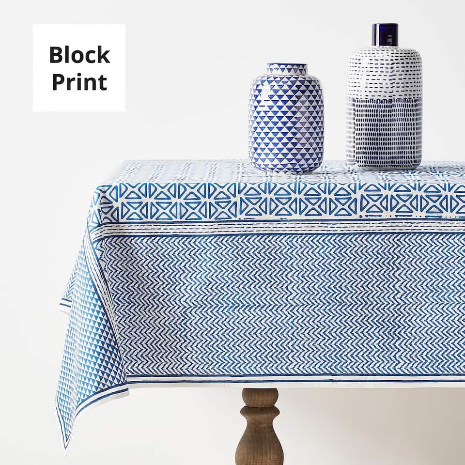 PATCHWORK-EFFECT PRINT COTTON TABLECLOTH