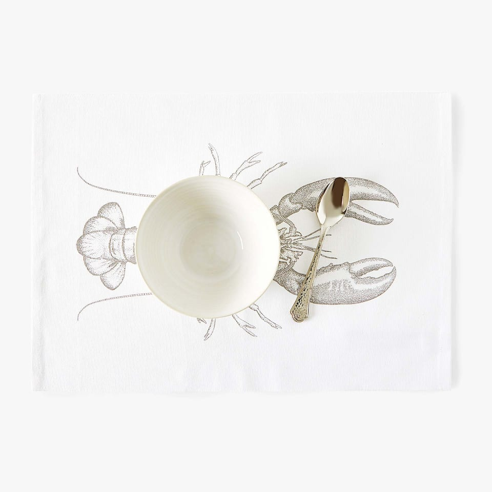 SET DE TABLE COTON IMPRIMÉ LANGOUSTE (LOT DE 2)