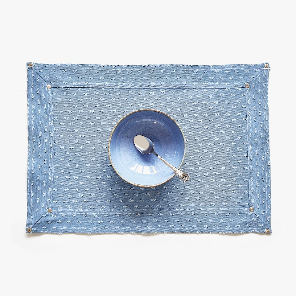STUDDED COTTON DENIM PLACEMAT