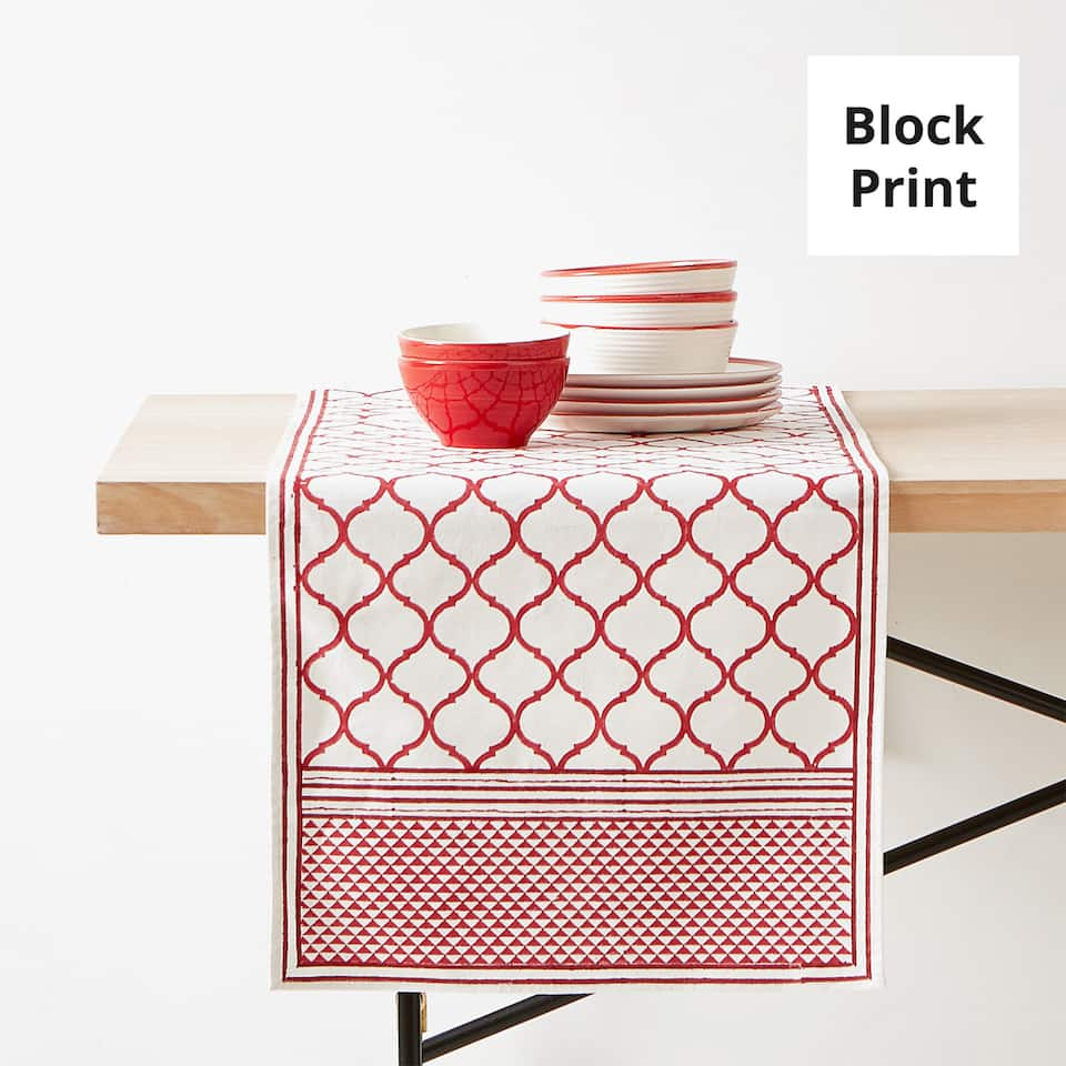 GEOMETRIC PRINT COTTON TABLE RUNNER