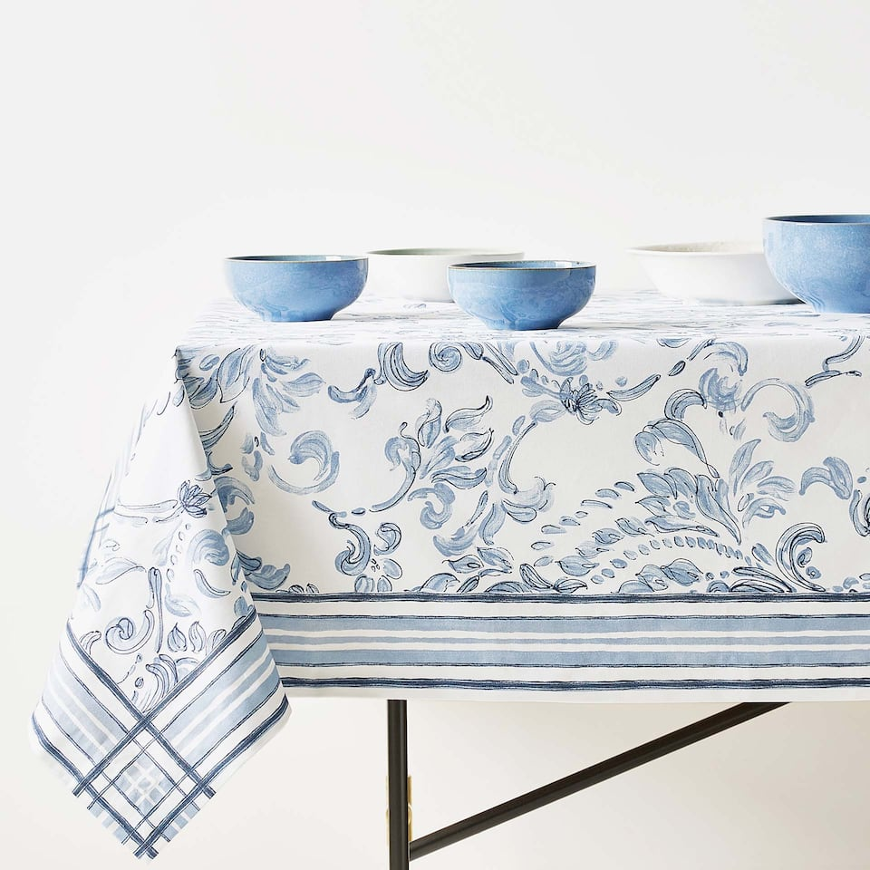 DAMASK DIGITAL PRINT COTTON TABLECLOTH