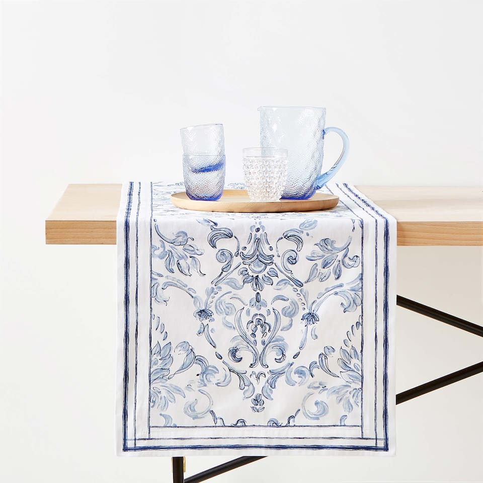 DAMASK DIGITAL PRINT COTTON TABLE RUNNER