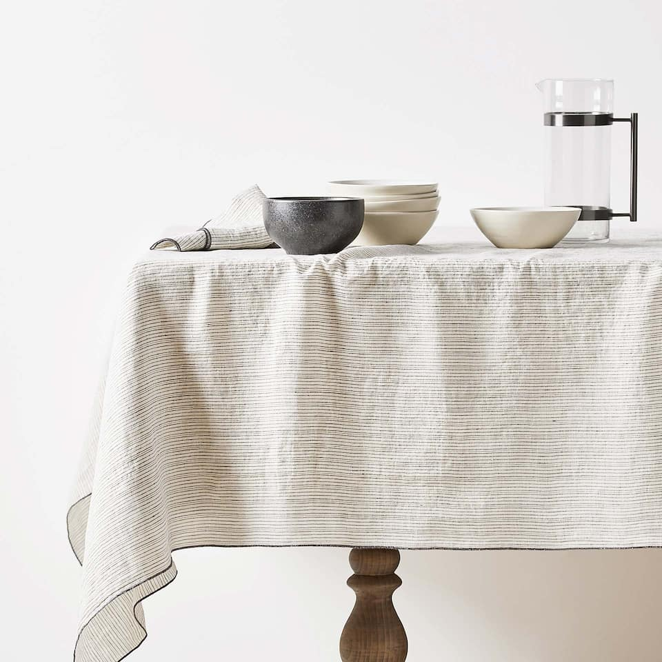 DYED THREAD FADED LINEN TABLECLOTH