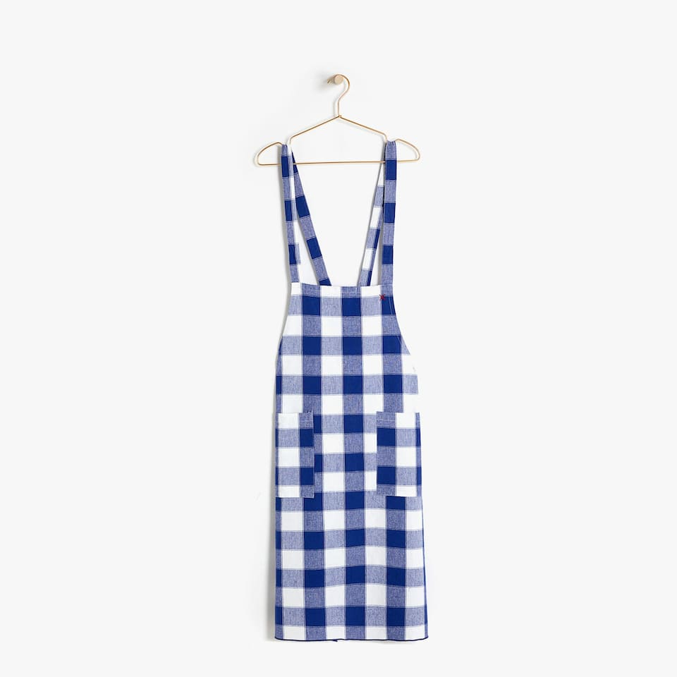 CHECKED COTTON APRON