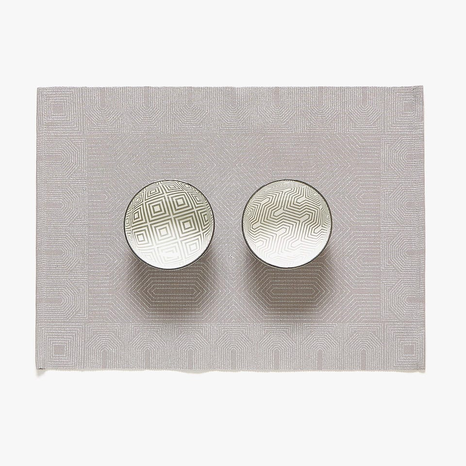SET DE TABLE COTON IMPRIMÉ GÉOMÉTRIQUE (LOT DE 2)