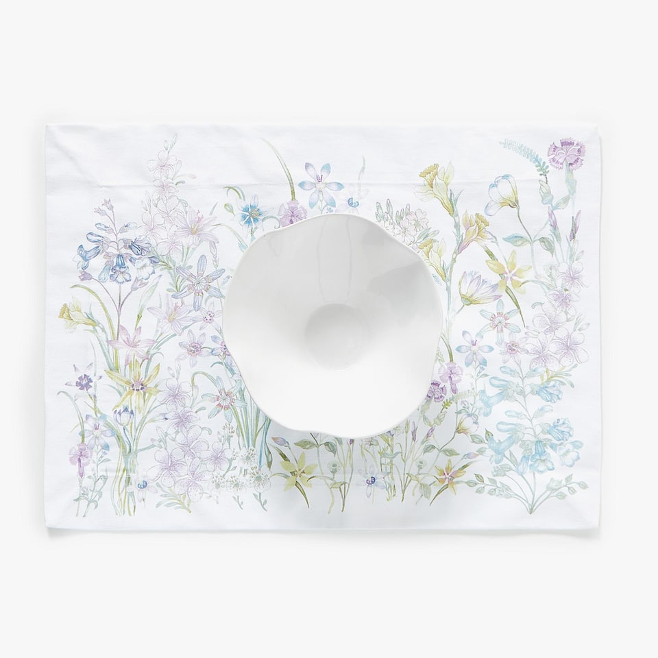 SET DE TABLE COTON IMPRIMÉ BORDURE FLORALE (LOT DE 2)