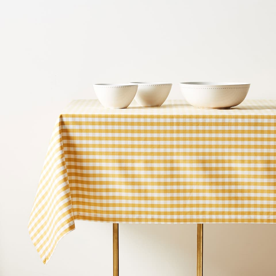 GINGHAM CHECK COTTON TABLECLOTH