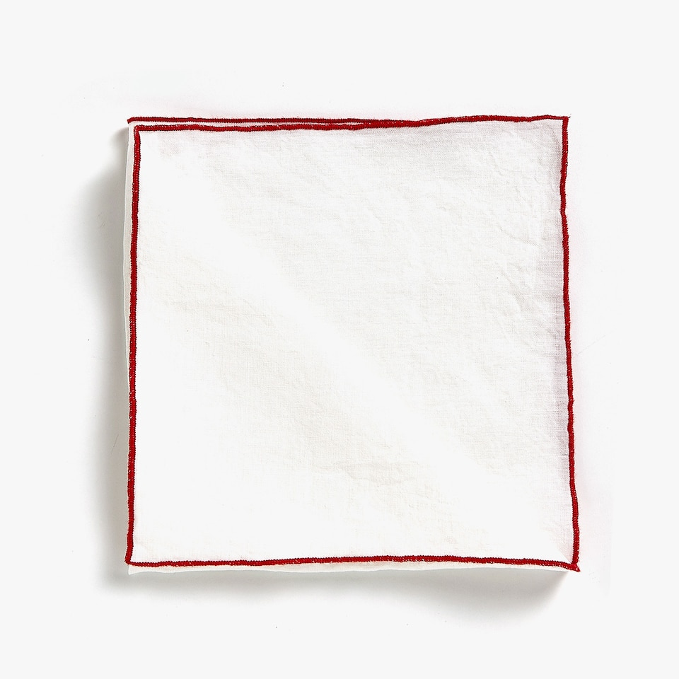 GEOMETRIC EMBROIDERED LINEN NAPKINS (SET OF 4)