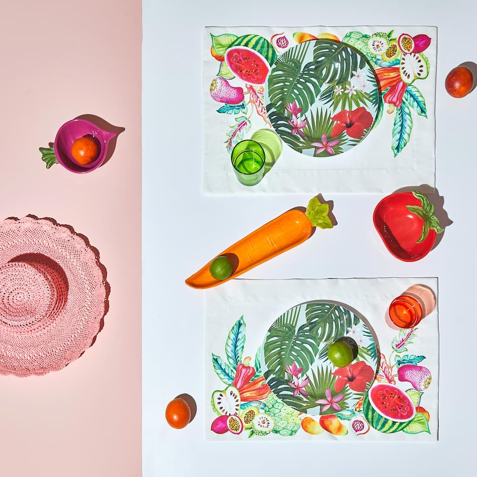Resin-coated placemats with fruit print (set of 2)