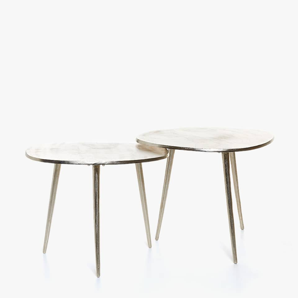 TABLE D'APPOINT HAUTE ALUMINIUM RECYCLÉ