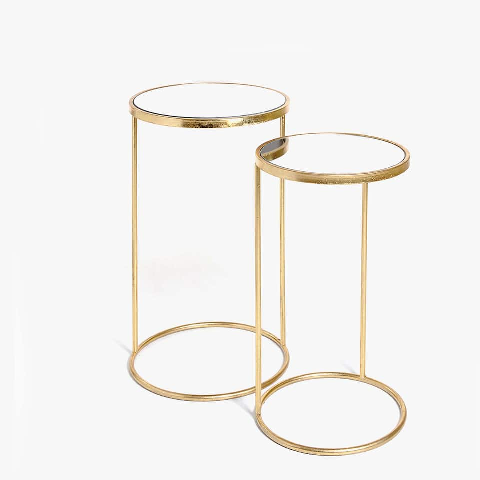 TALL SIDE TABLE WITH GOLDEN FRAME