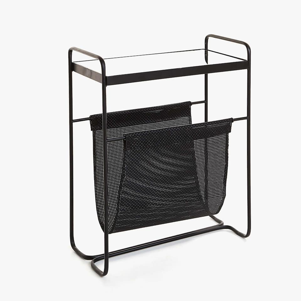 METAL SIDE TABLE WITH MAGAZINE RACK