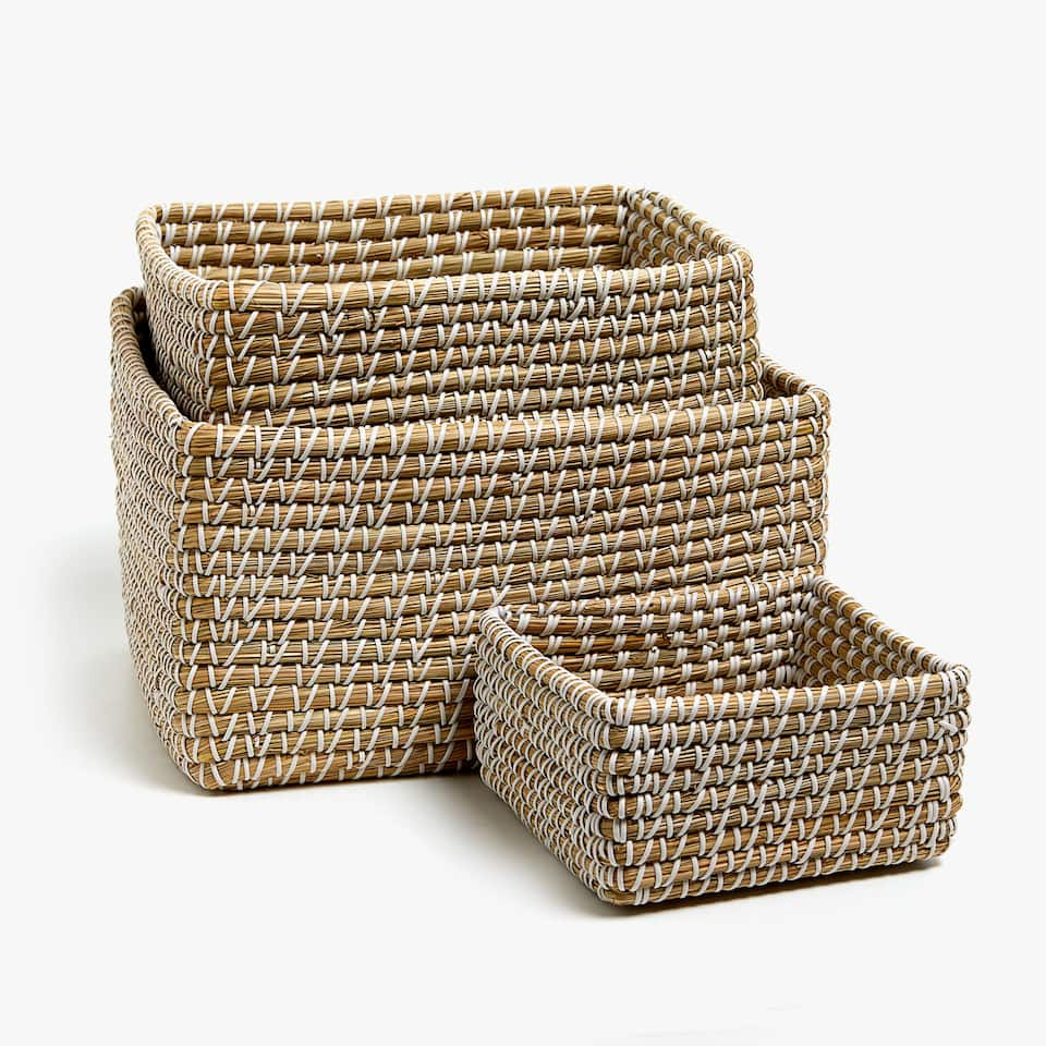 WHITE PLAITED BASKET