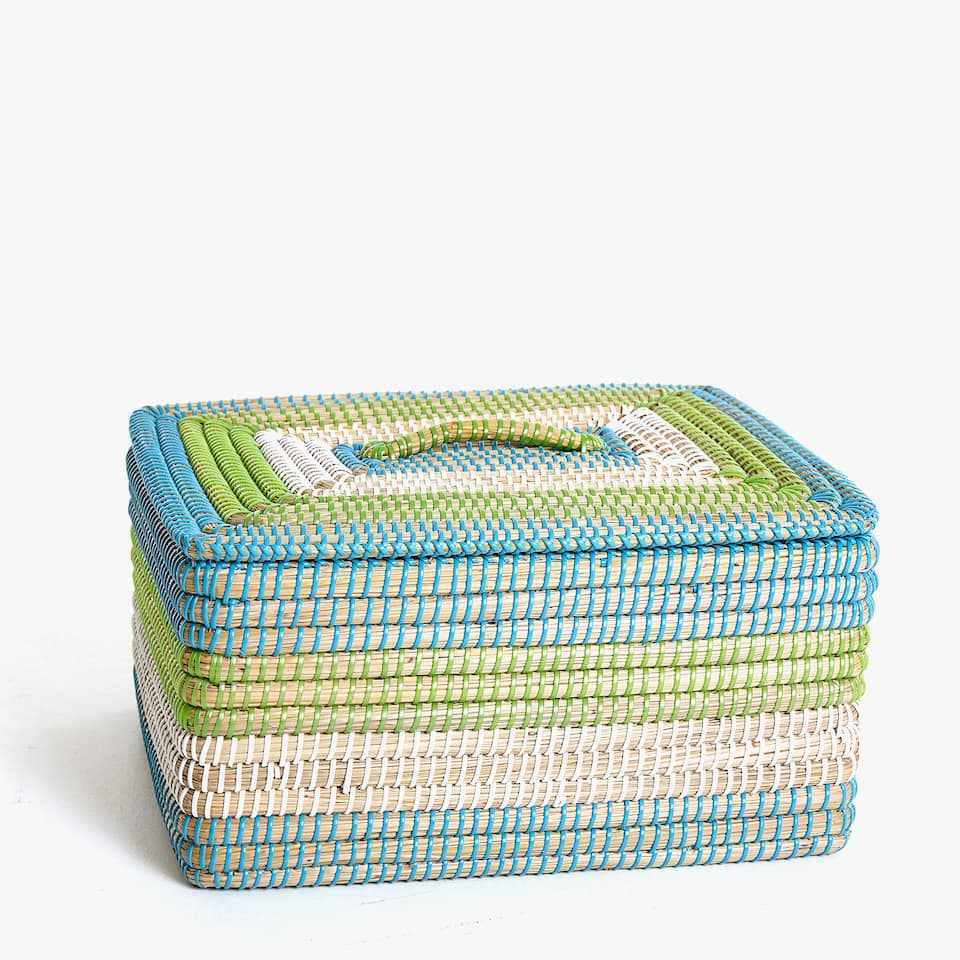 SQUARE MULTICOLOURED PLAITED BASKET